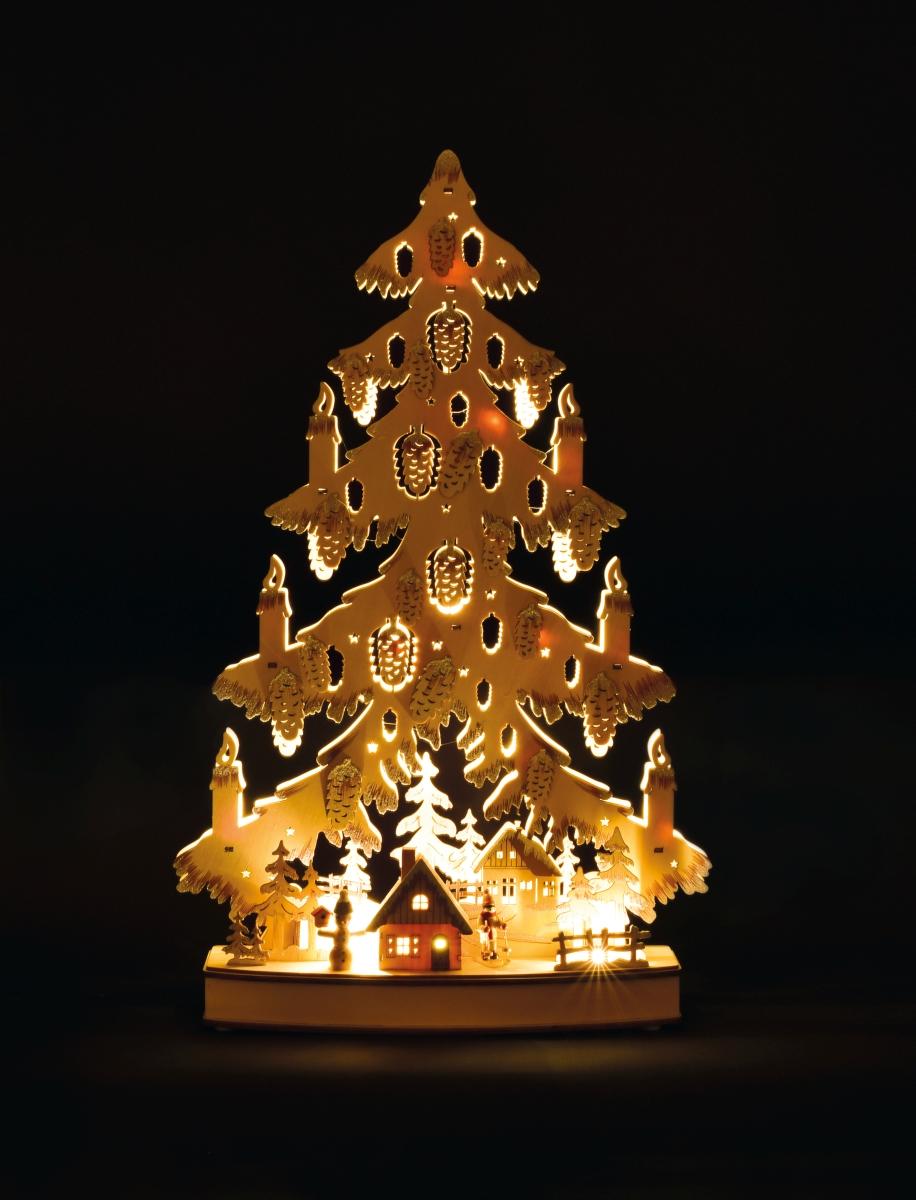 63 cm Velký vánoční stromek svítící, dřevěný