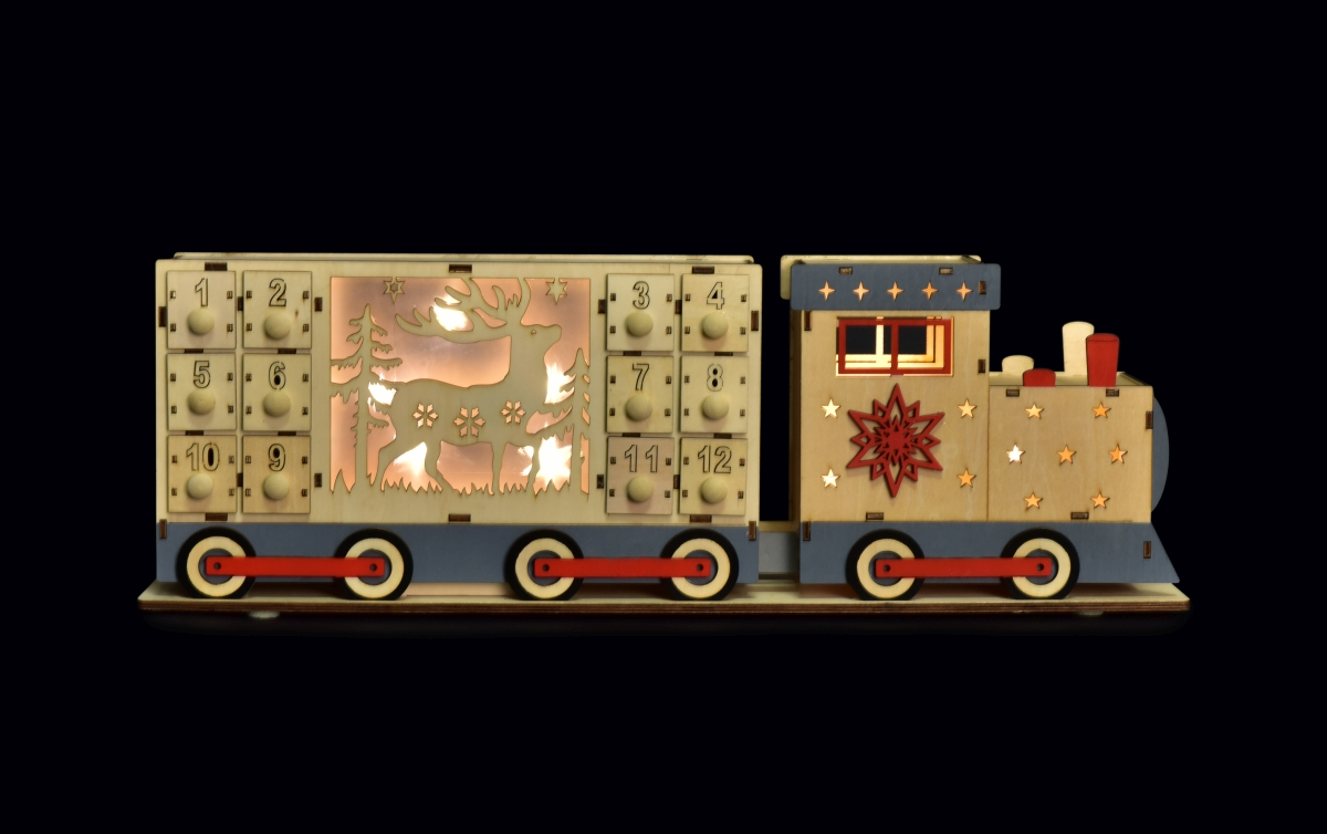 50 cm Adventní kalendář dřevěný, oboustranný s LED osvětlením