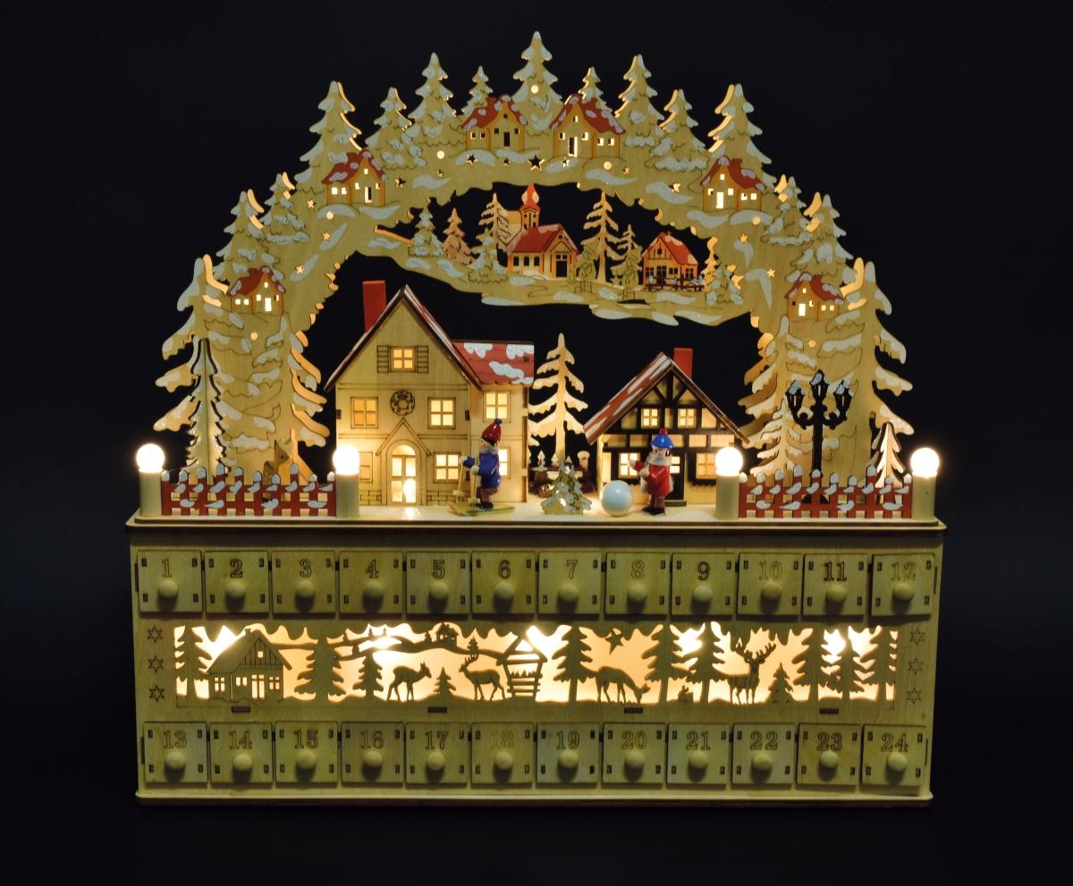 45 cm Adventní dřevěný kalendář  vesnička