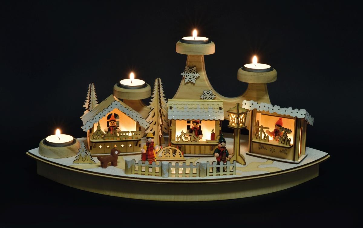 45 cm LED adventní svícen na 4 čajové svíčky dřevěný