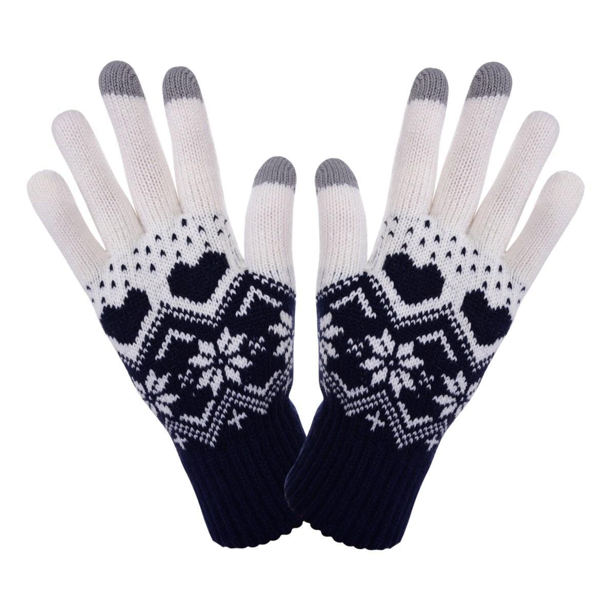 Dotykové zimní pletené rukavice tmavě modré