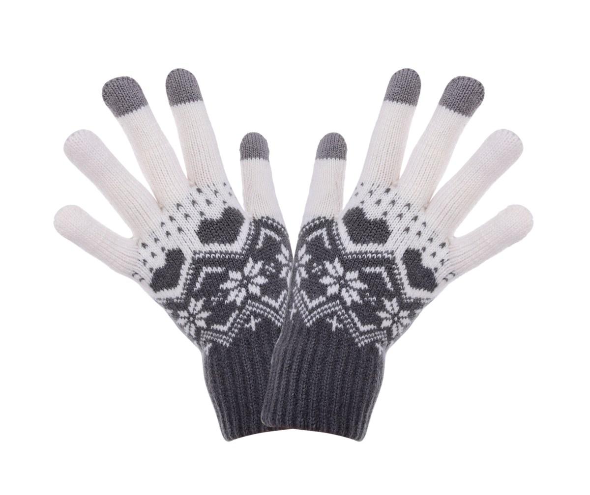 Dotykové zimní pletené rukavice šedé