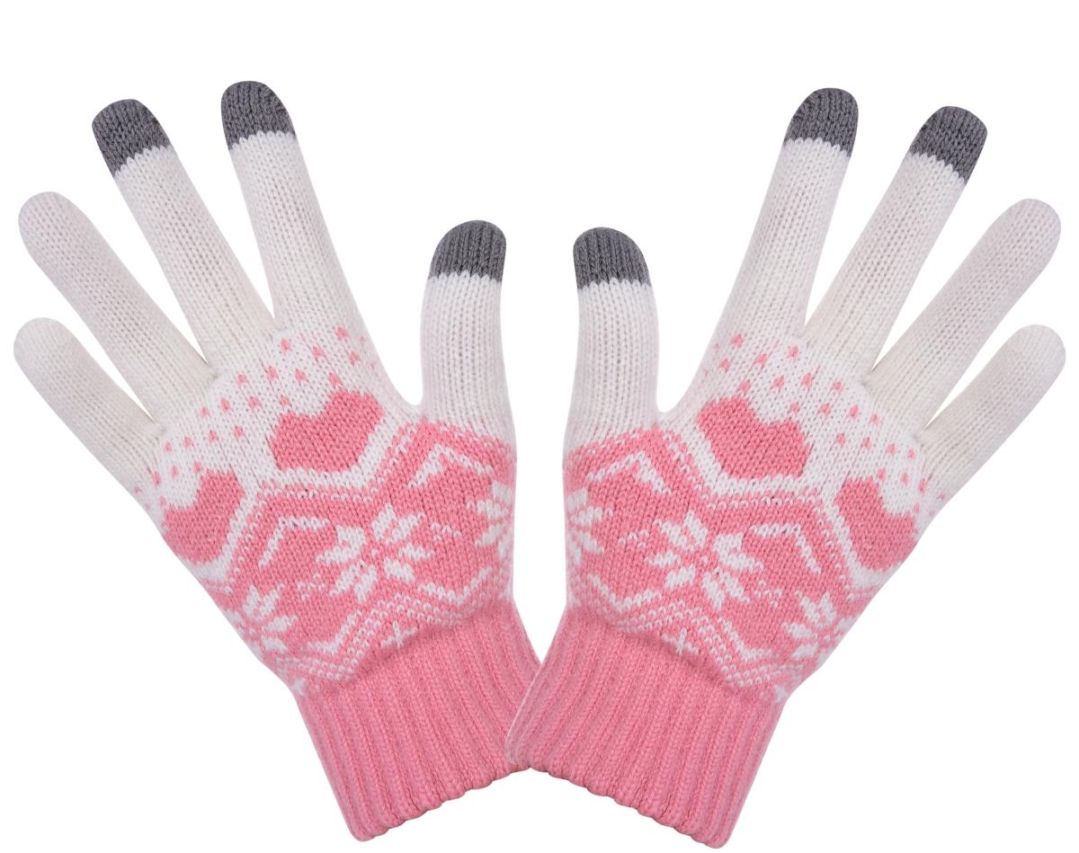 Dotykové zimní pletené rukavice starorůžové