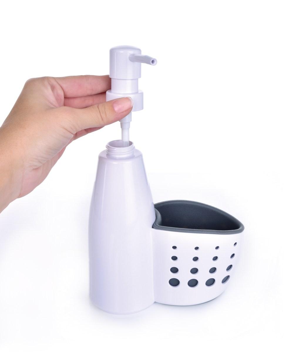 Organizér/stojan, do kuchyně s praktickým dávkovačem mycího prostředku