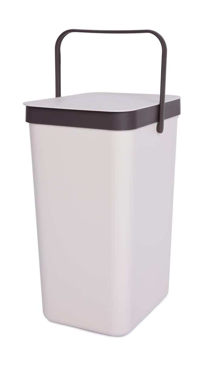 Závěsný odpadkový koš 18 L s odklápěcím víkem a uchem kremový