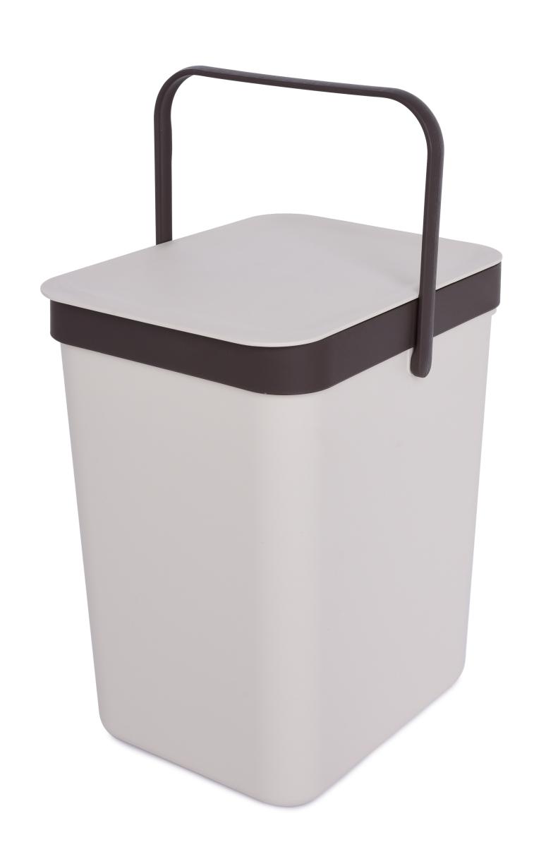 Závěsný odpadkový koš 16 L s odklápěcím víkem a uchem krémový