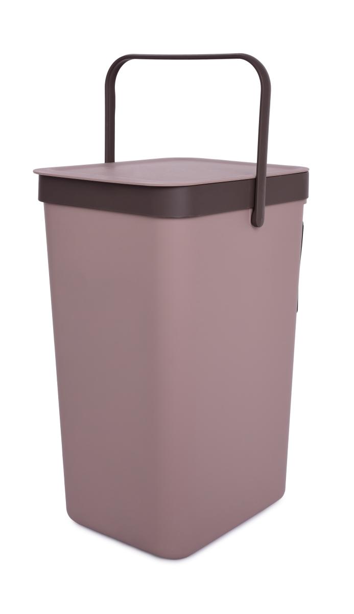Závěsný odpadkový koš 18 L s odklápěcím víkem a uchem kávový