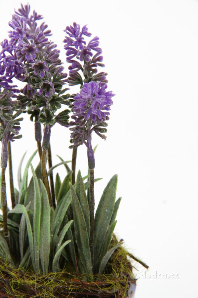Dekorativní květináč, s levandulí a věncem