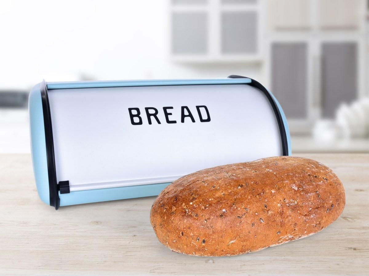 Kovový chlebník BREAD, tyrkysový