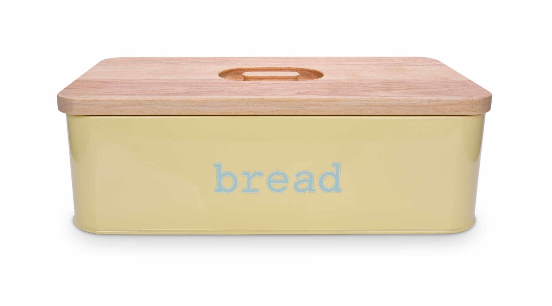 Chlebník BREAD vanilkový, kovový s krájecím víkem z masivního dřeva
