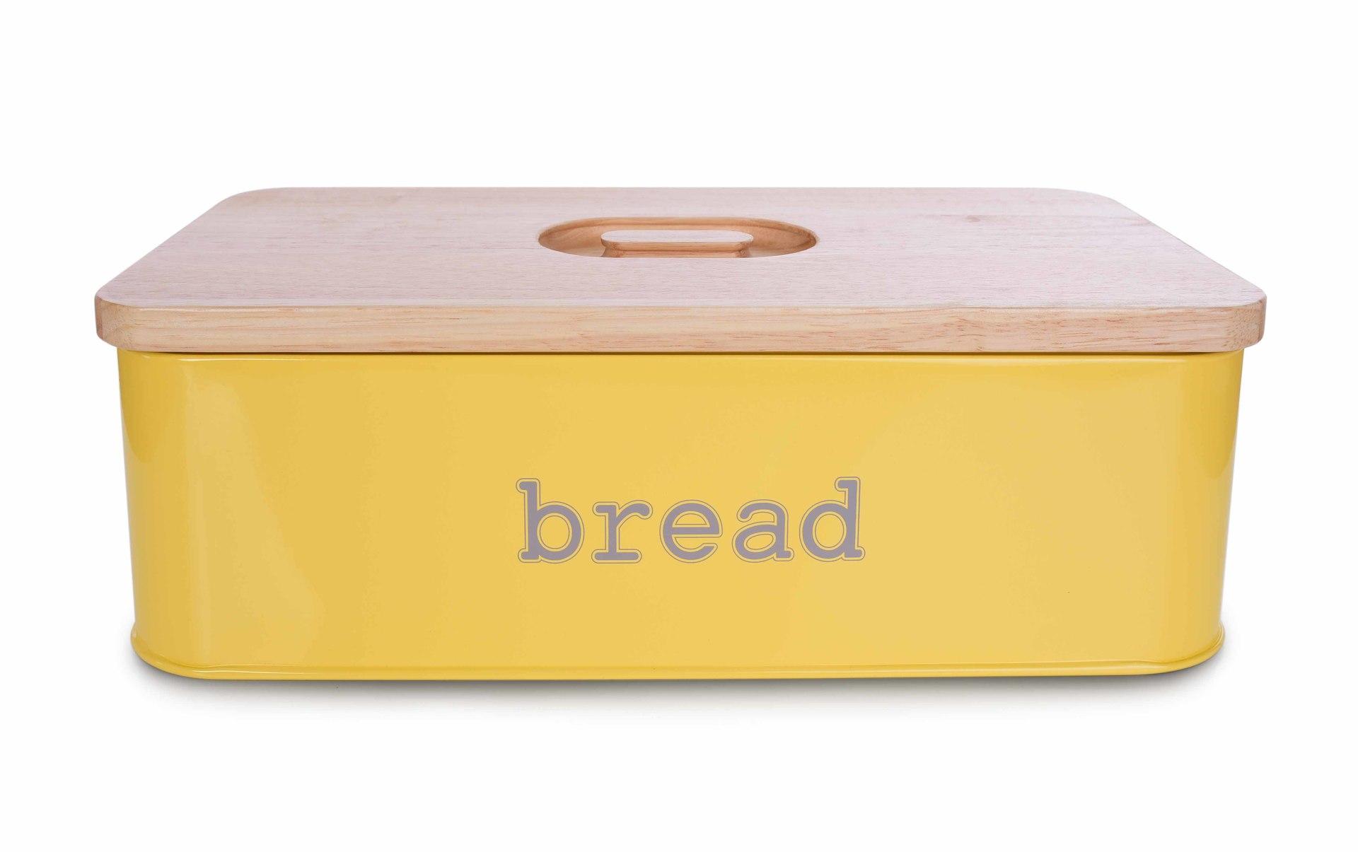 Chlebník BREAD žlutý, kovový s krájecím víkem z masivního dřeva