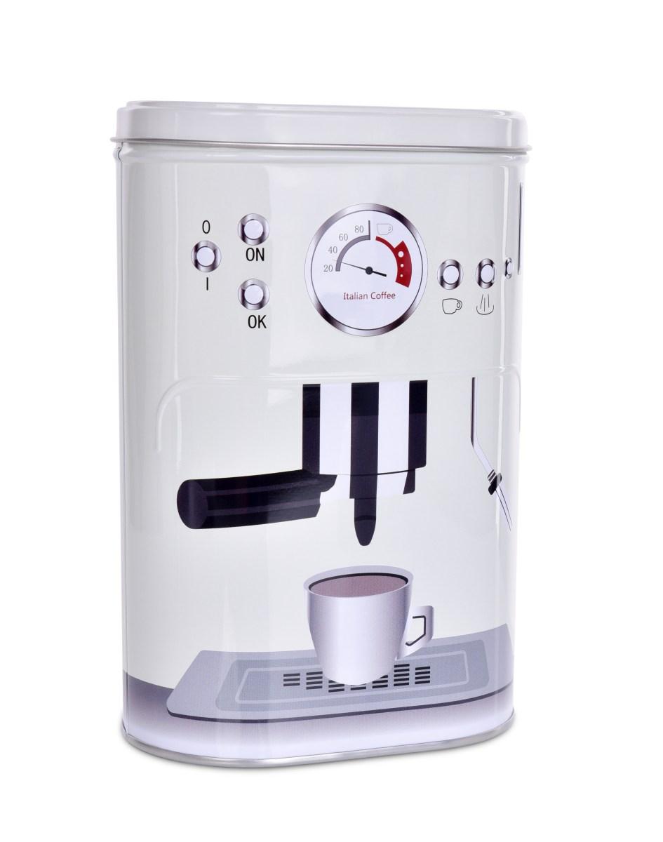 Kovová oválná dóza s víkem PRESSO COFFEE objem 1100 ml