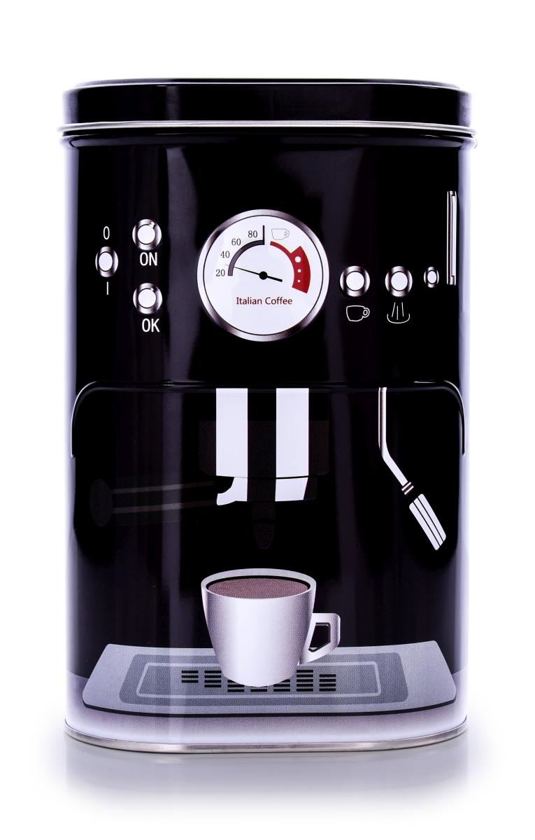 Kovová oválná dóza s víkem, PRESSO COFFEE