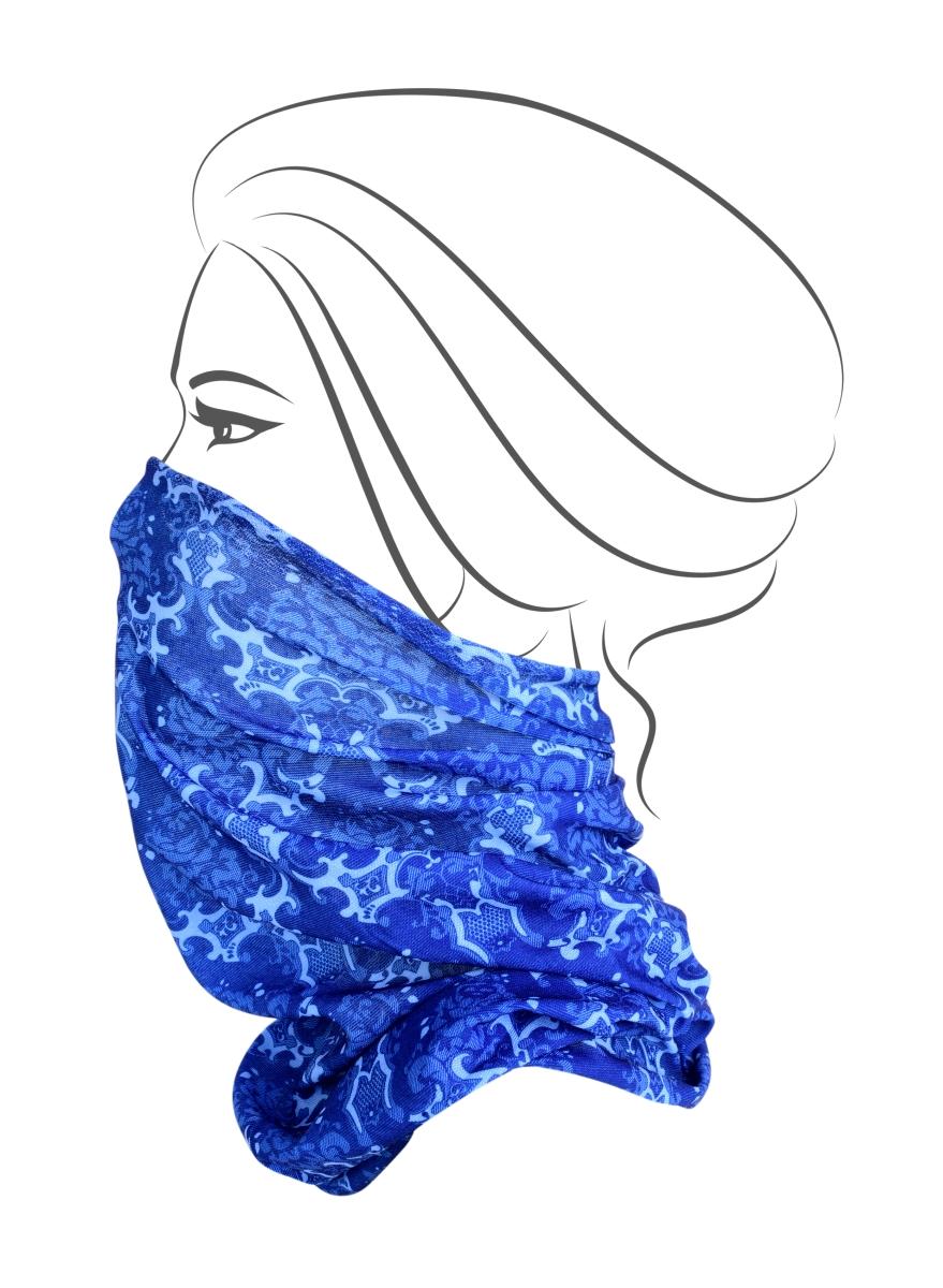Multifunkční šátek, modrý s motivem