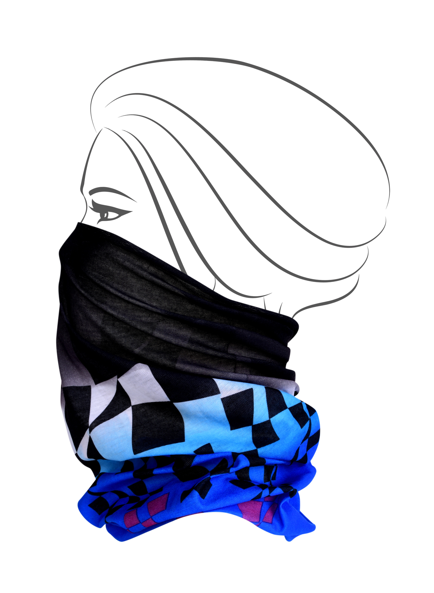 Multifunkční šátek, abstraktní kostky