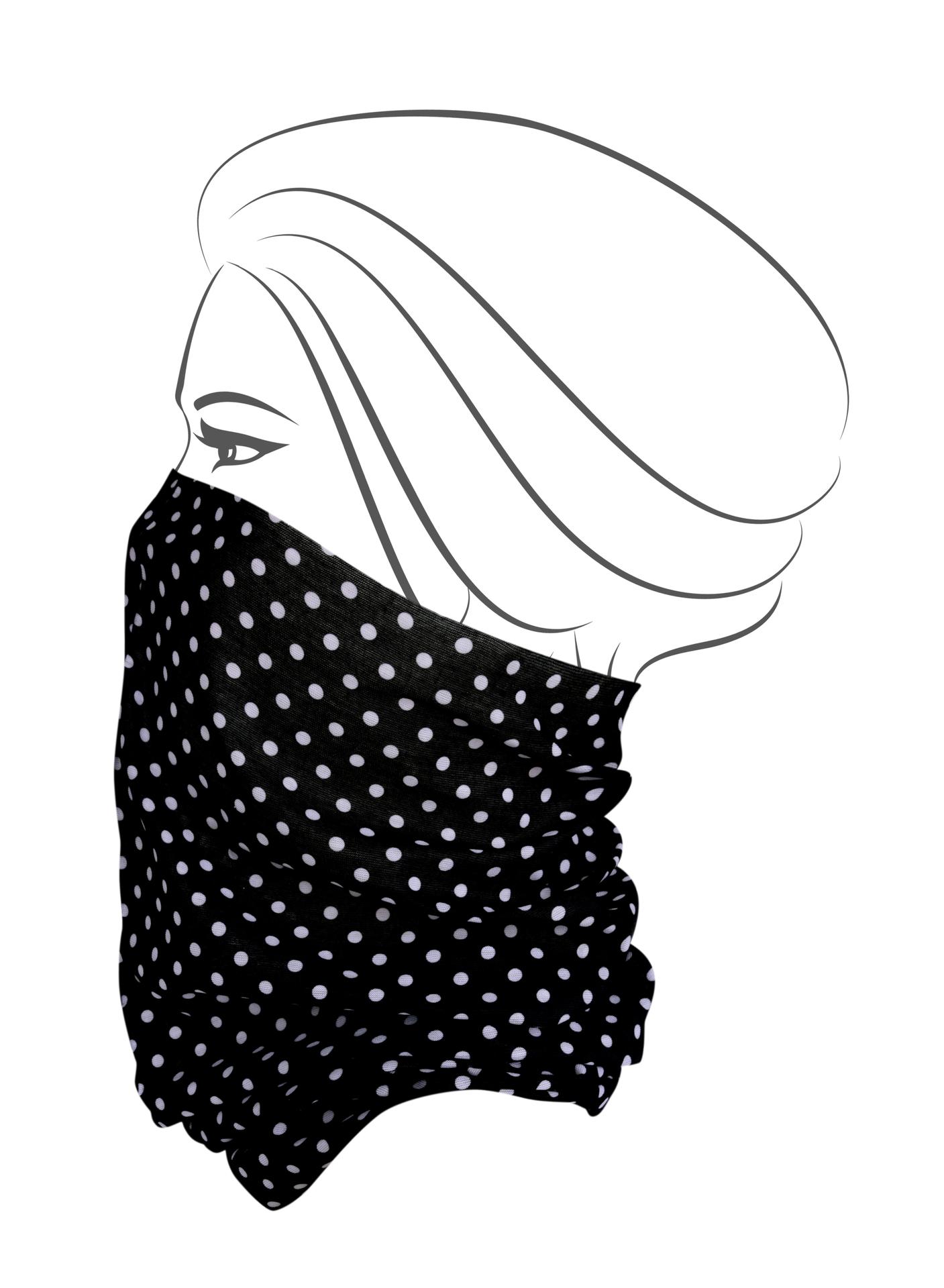 Multifunkční šátek, černý s bílým puntíkem