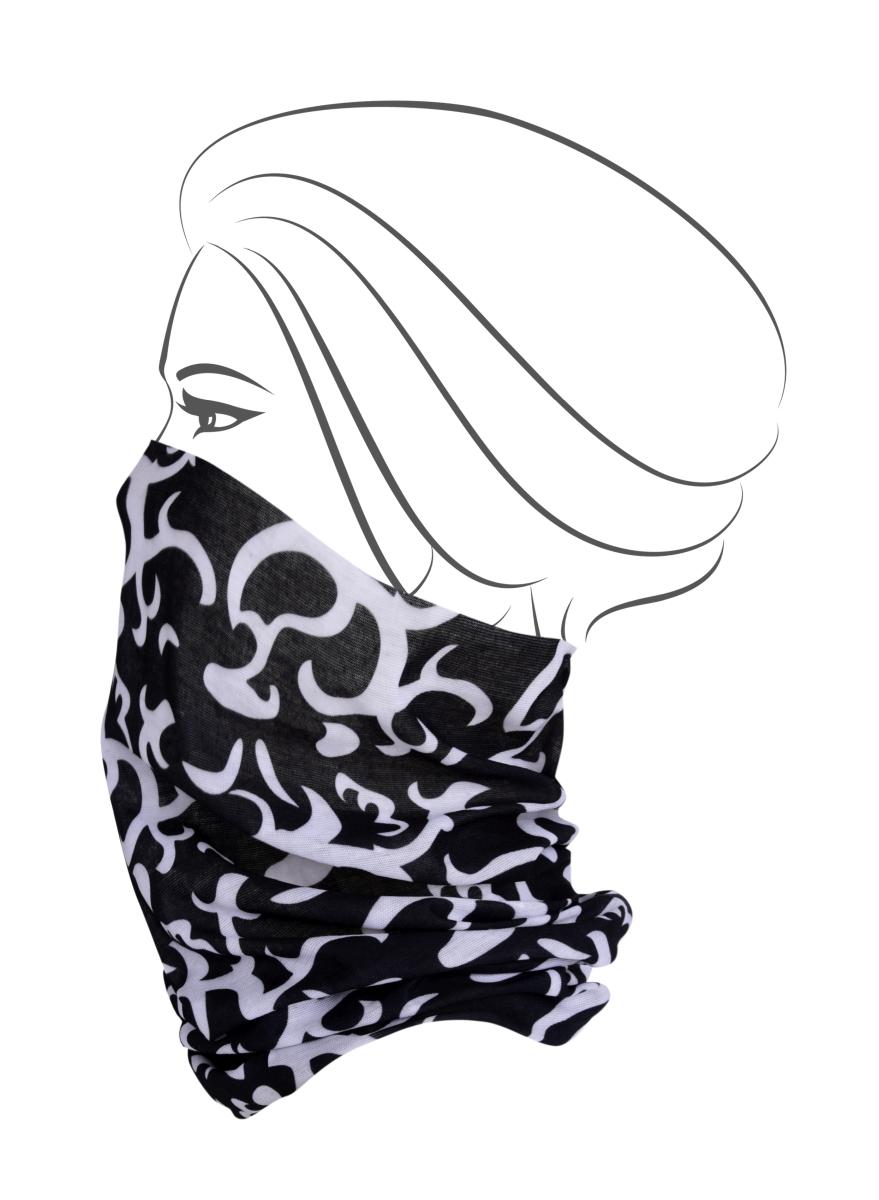Multifunkční šátek, černý s ornamenty