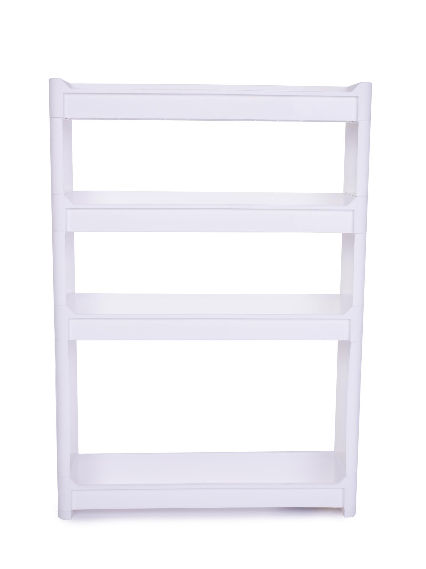 Pojízdný regál SLIM WHITE 11,5 cm do úzkých prostor, 4 patrový