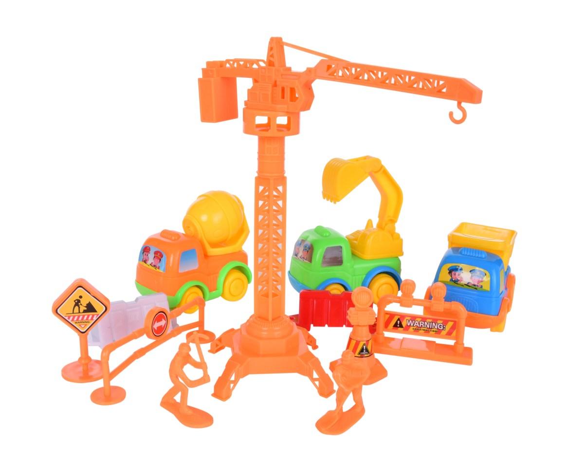 MLADÝ STAVITEL set stavebních autíček, značek a strojů 13 dílný set