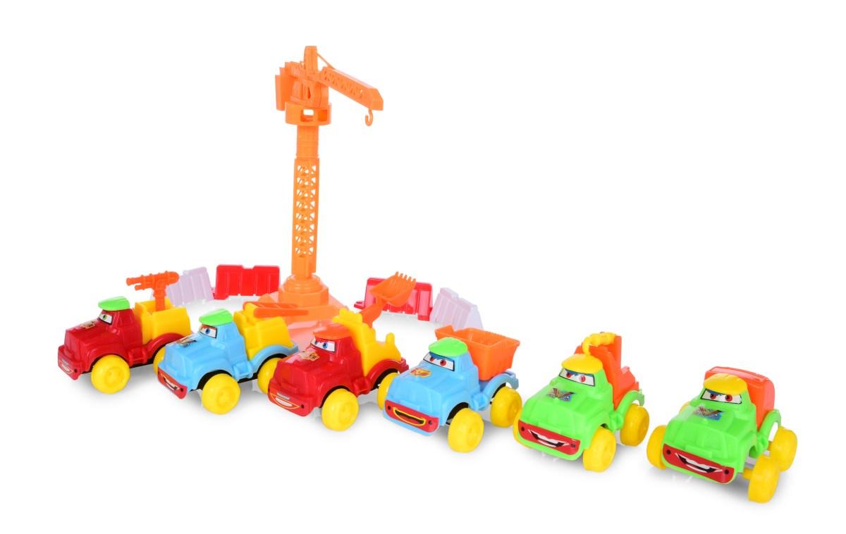 MLADÝ STAVITEL set stavebních autíček, značek a strojů 12 dílný set