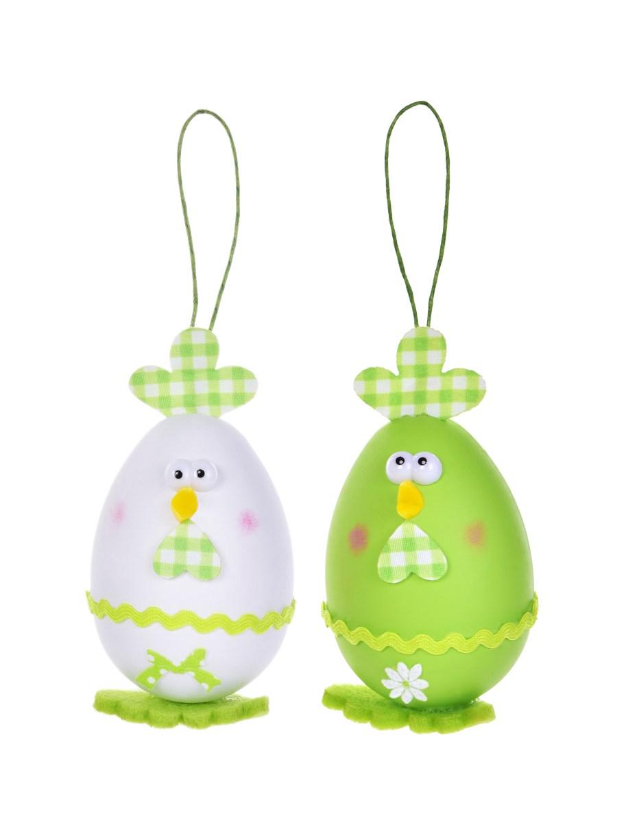 2 ks kuřátko - vajíčko, velikonoční závěsná dekorace, s propracovanými detaily, bílo zelené