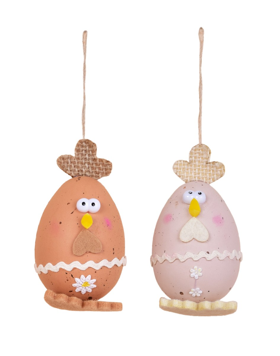 2 ks kuřátko - vajíčko, velikonoční závěsná dekorace, s propracovanými detaily, přírodní