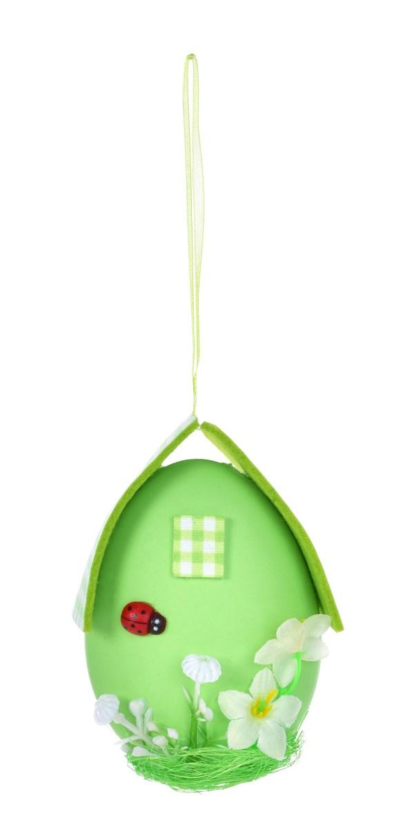 Zelené vajíčko - domeček, velikonoční závěsná dekorace, s propracovanými detaily