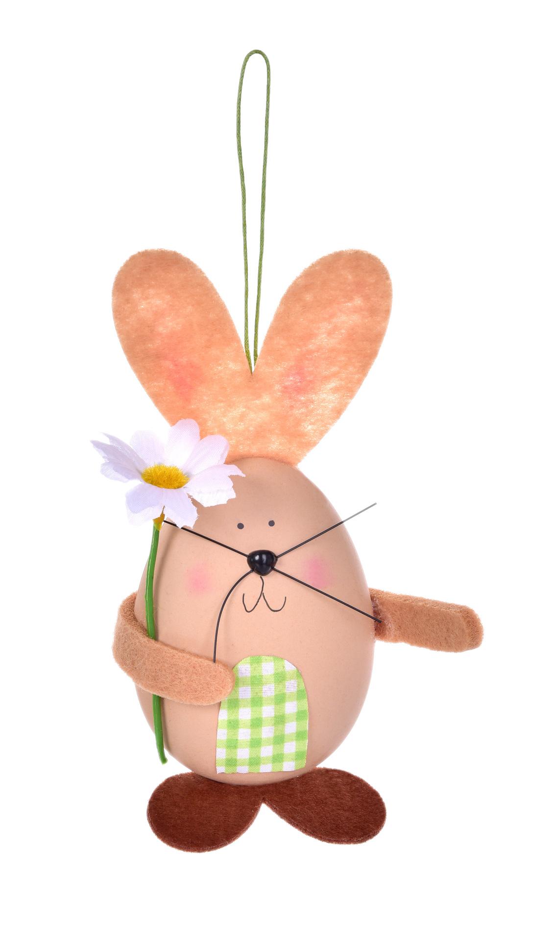 15 cm zajíček - vajíčko, velikonoční závěsná dekorace, s propracovanými detaily
