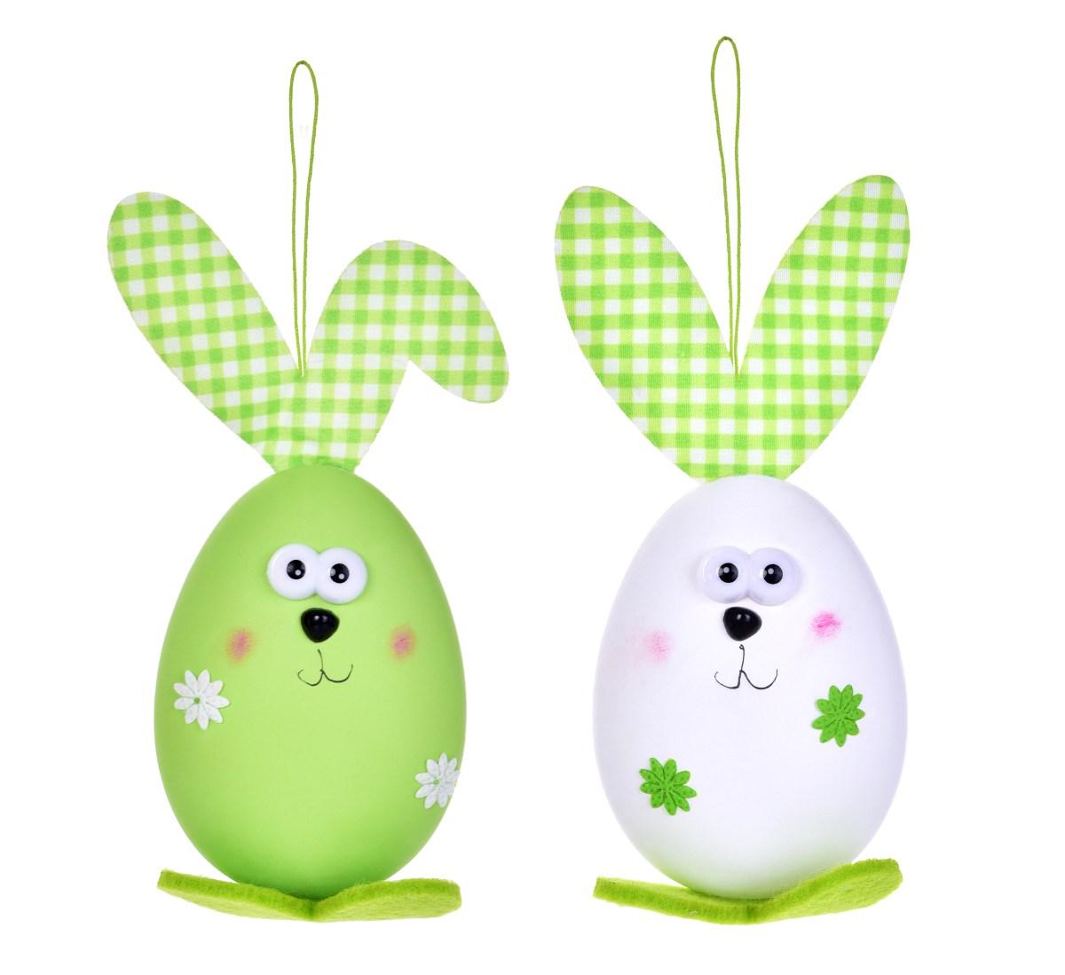 2 ks zajíček - vajíčko, velikonoční závěsná dekorace, s propracovanými detaily