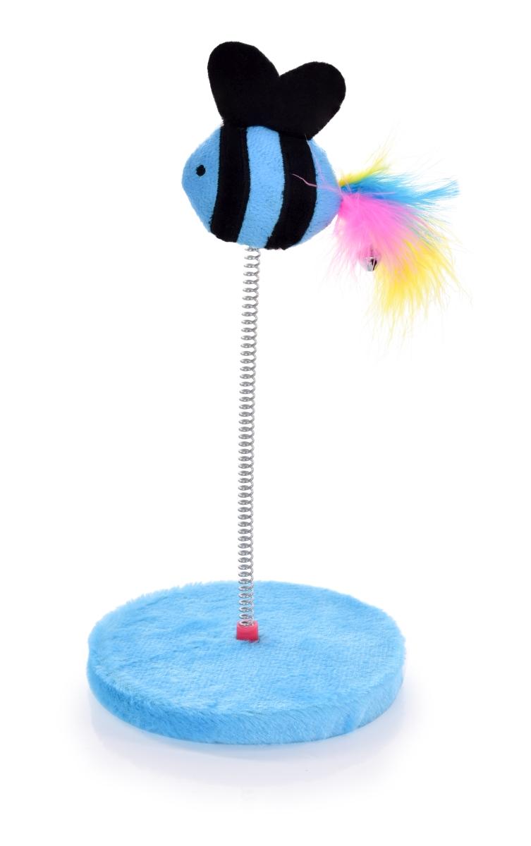 Kočičíhračka na pružném pérku modrá