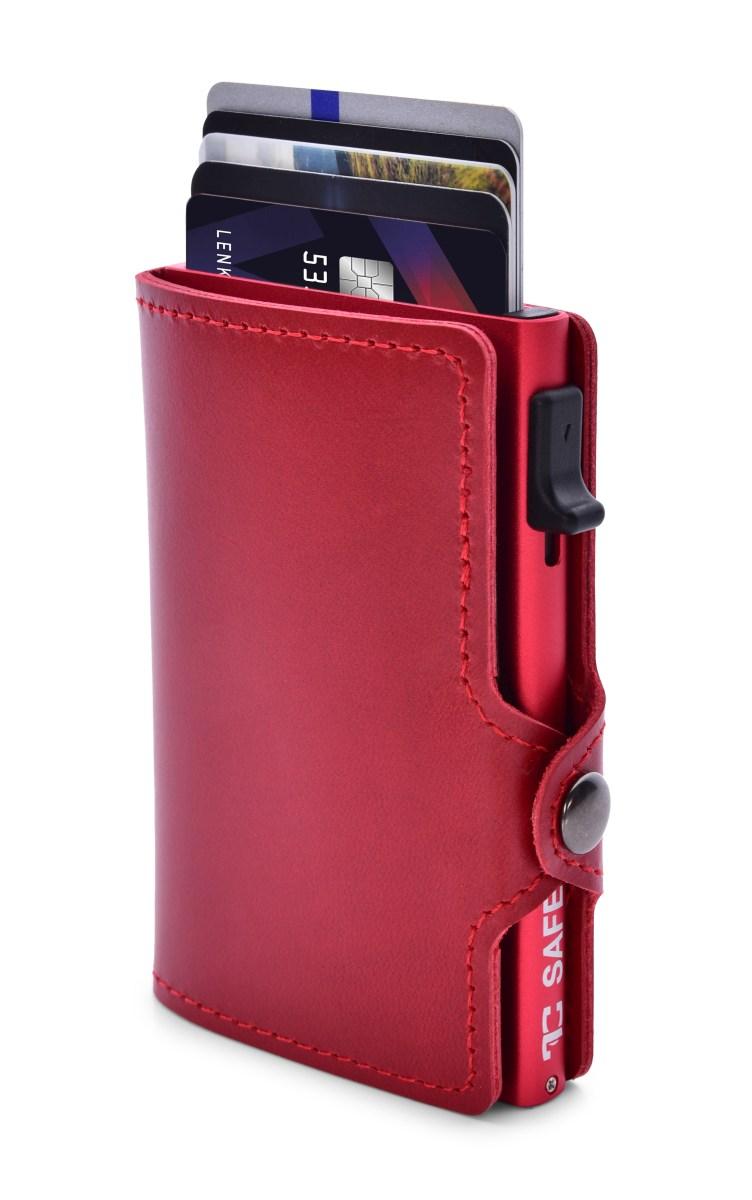 FC SAFE kožená peněženka  pro ochranu platebních karet bordeaux red