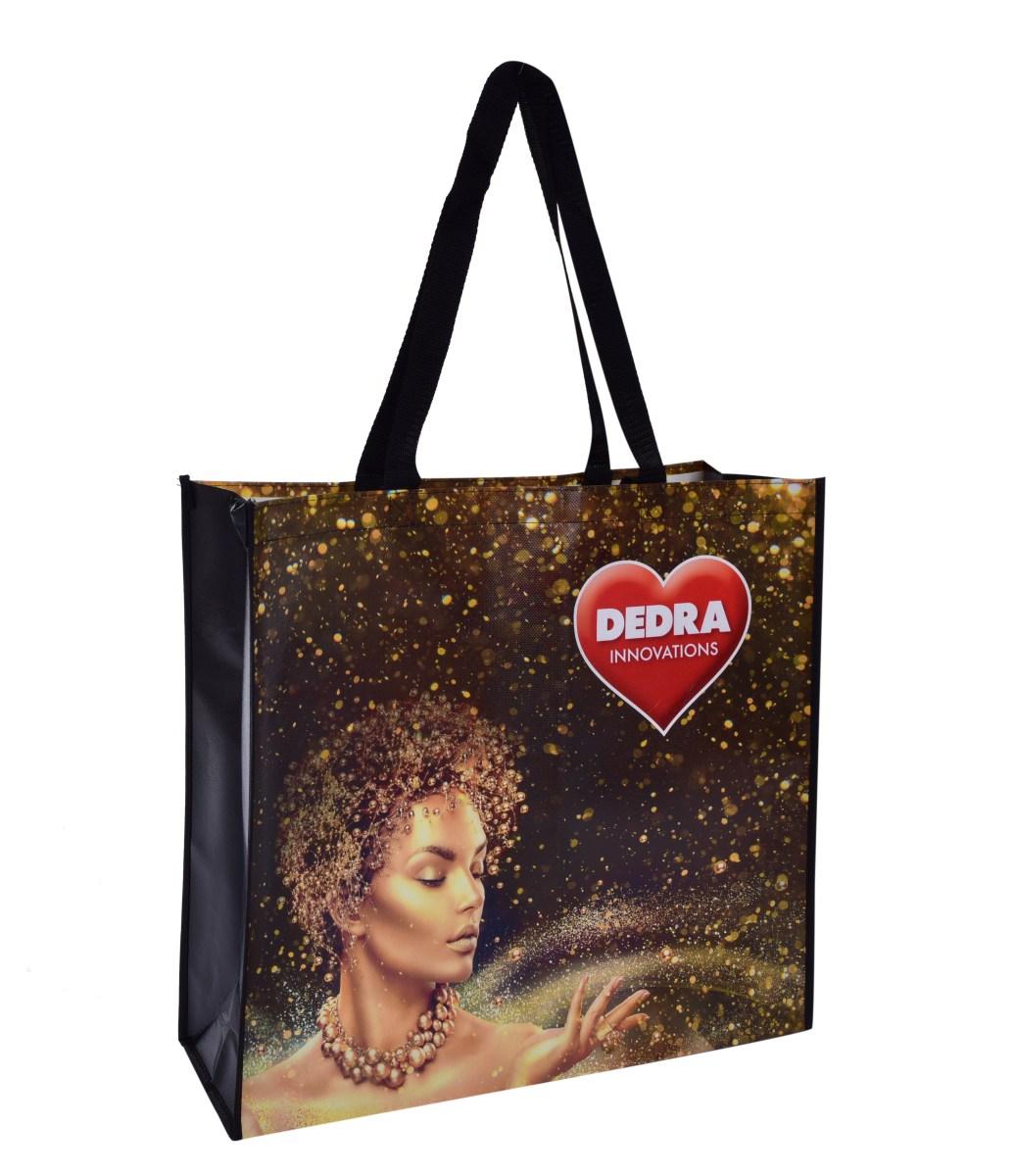 Citybag DEDRA textilná taška GOLD s lesklou lamináciou