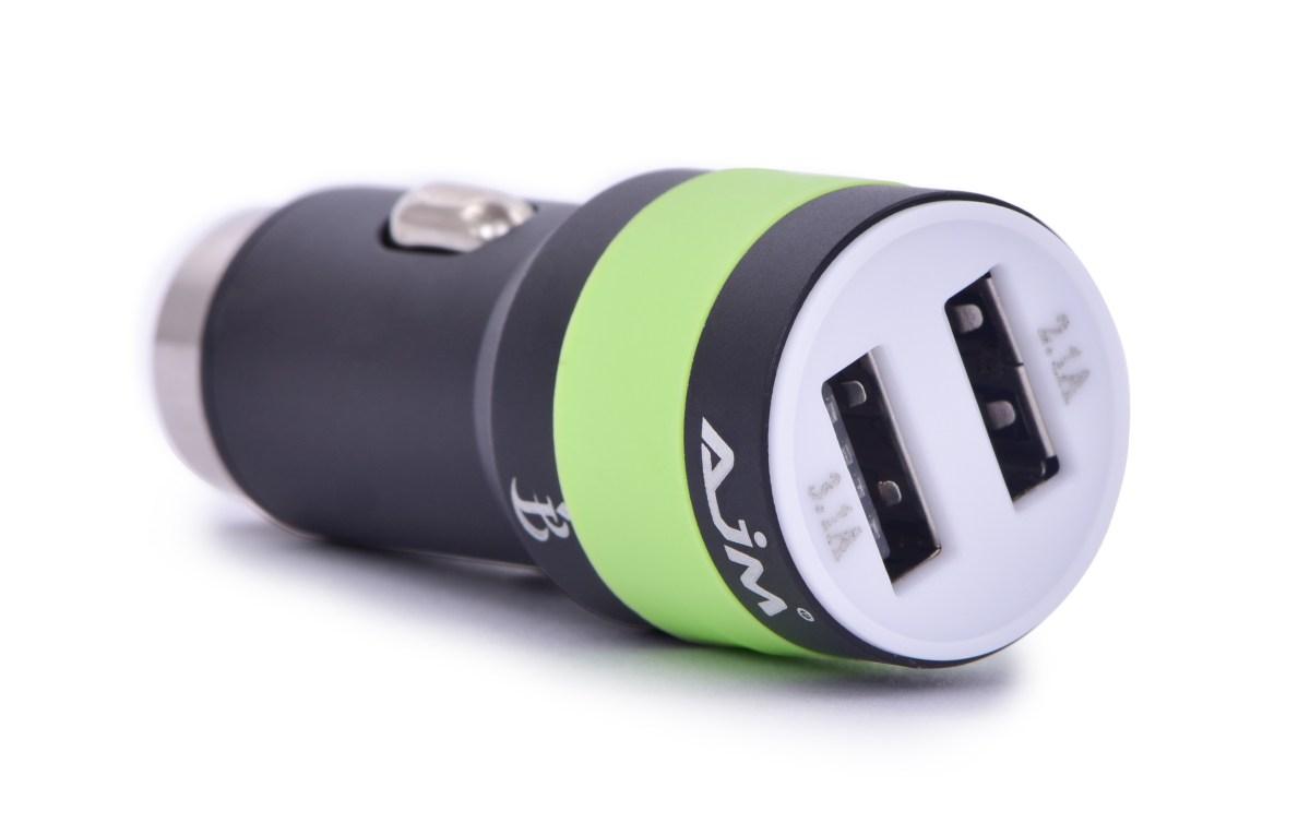 2 x USB ³adowarka adapter samochodowy, z koñcówk± bezpieczeñstwa czarny