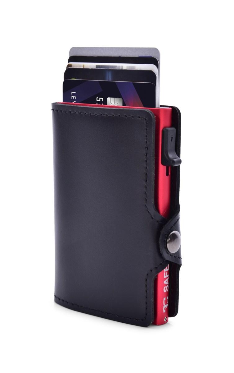 FC SAFE kožená peněženka  pro ochranu platebních karet black red