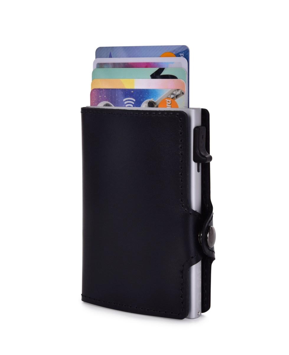 FC SAFE kožená peněženka pro ochranu platebních karet  black silver