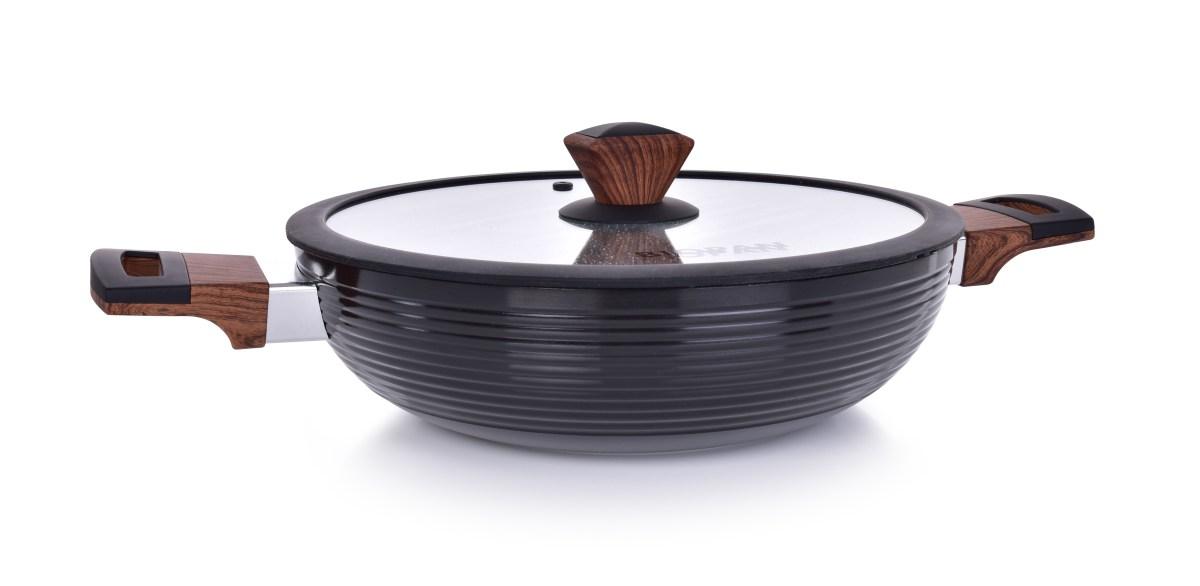 Pánev WOK Ø 28 cm s poklicí BIOPAN® WOODOO, s rukojetí soft touch v imitaci dřeva