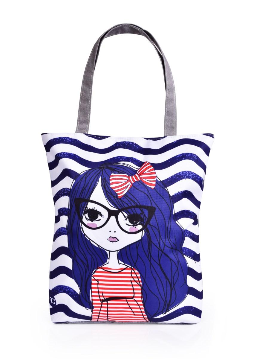 Textilná kabelka / taška FC ELEGANT MARINE LITTLE GIRL, s uzatváraním na zips
