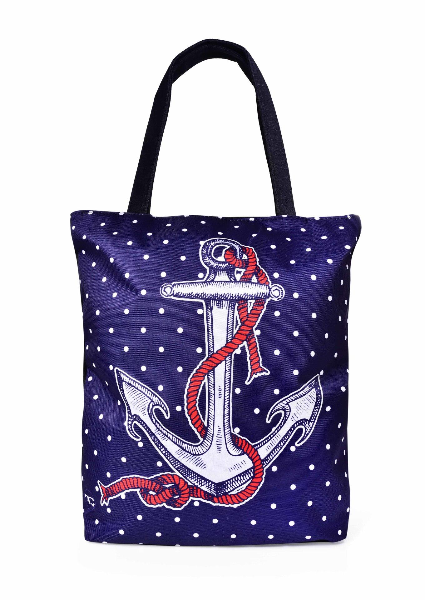 Textilná kabelka / taška FC ELEGANT MARINE KOTVA, s uzatváraním na zips