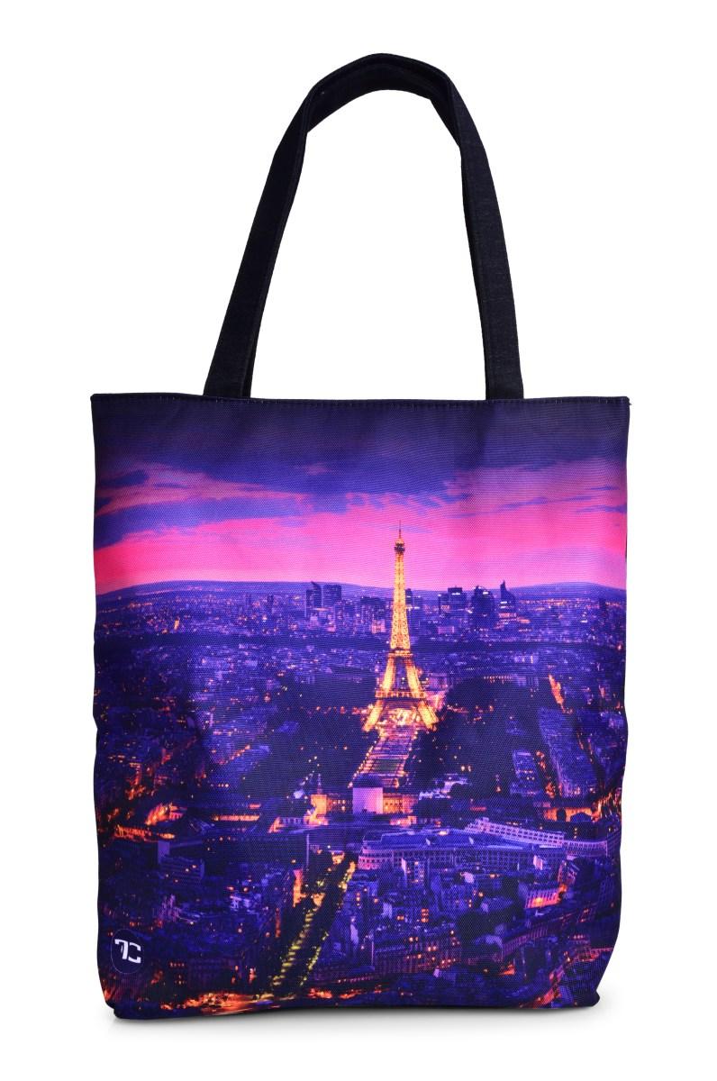 Textilní kabelka/taška FC ELEGANT NIGHT PARIS  s uzavíráním na zip