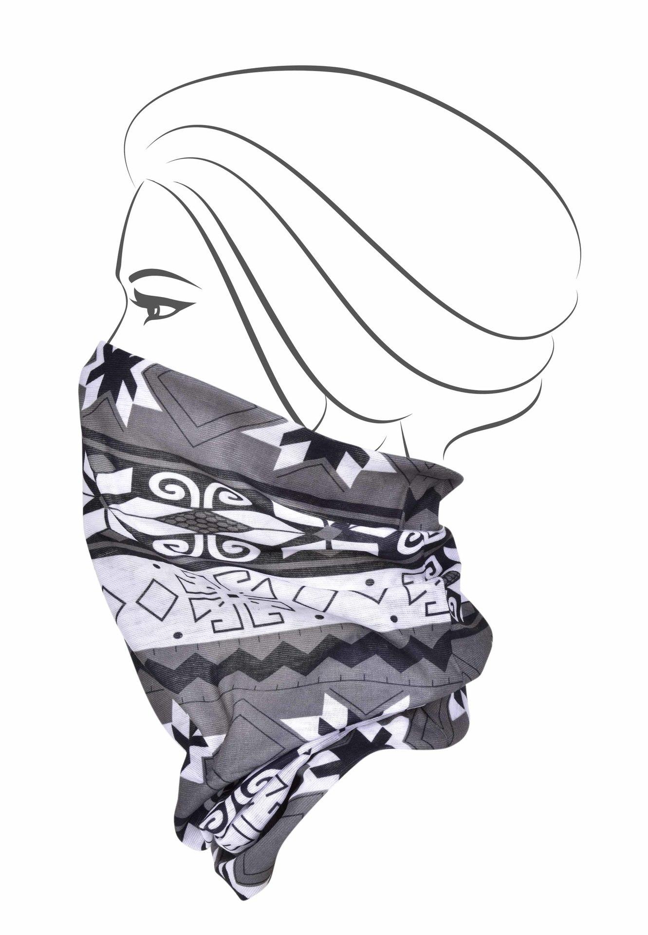 Multifunkční šátek, černo - bílo - šedý