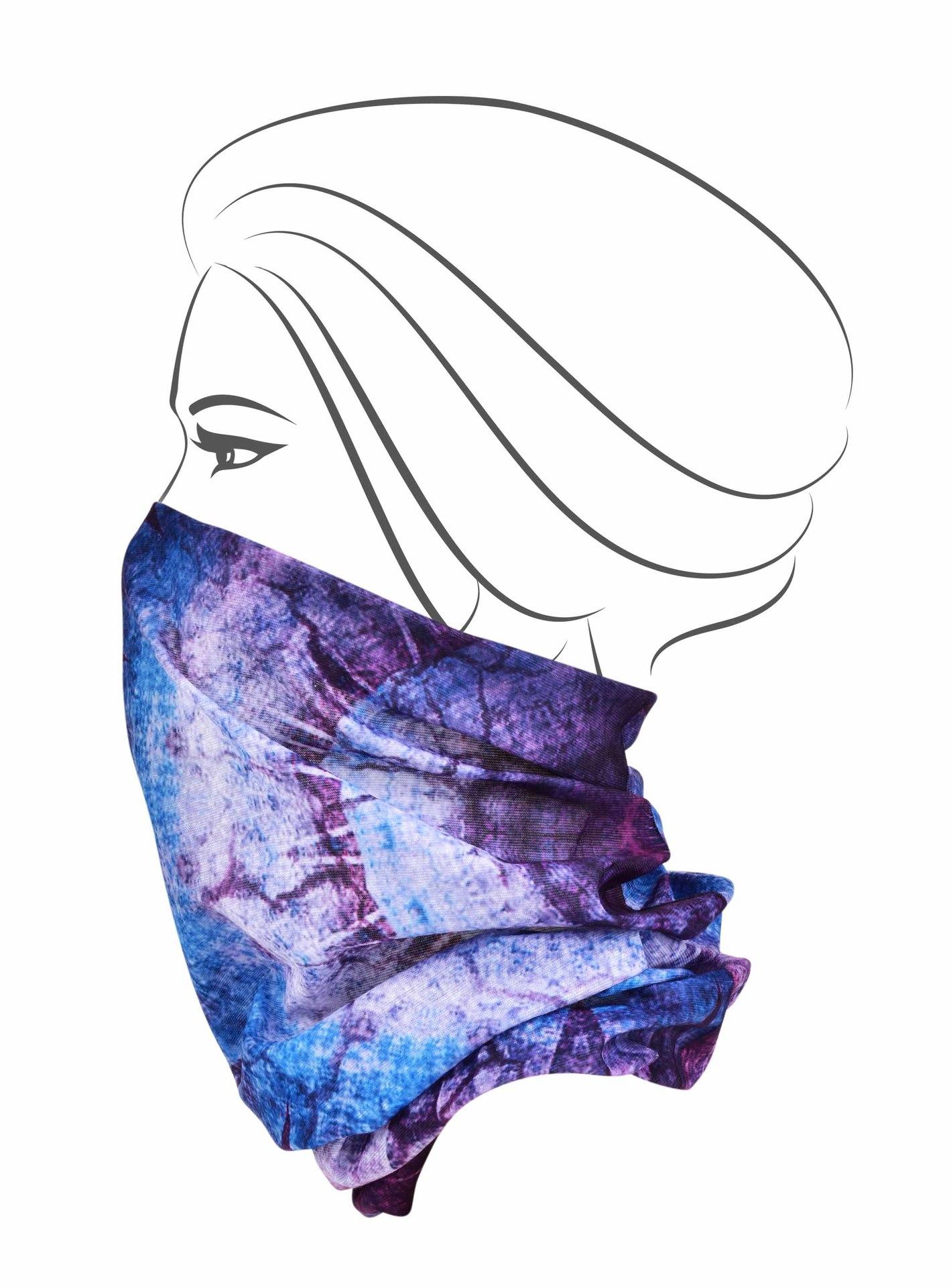Multifunkční šátek, modrý orient