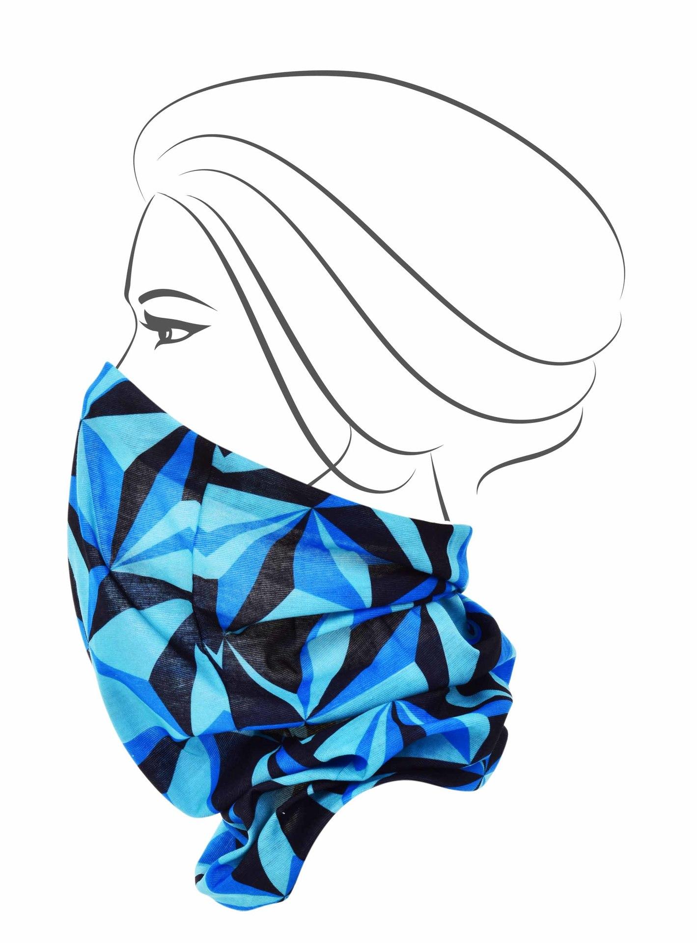 Multifunkční šátek, modré origami
