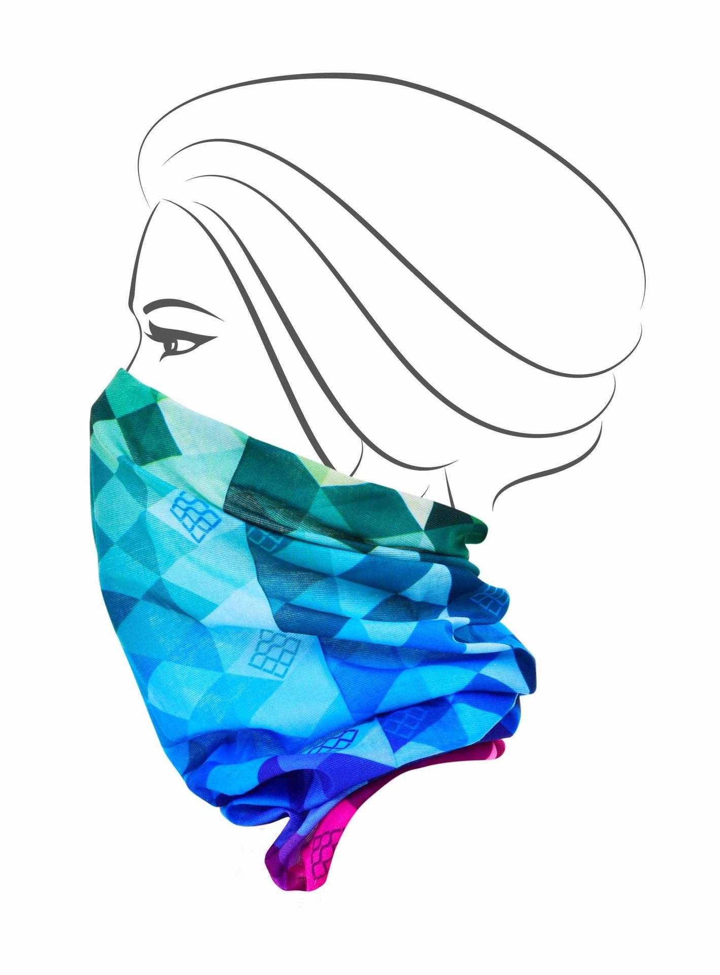 Multifunkční šátek, multicolor káro