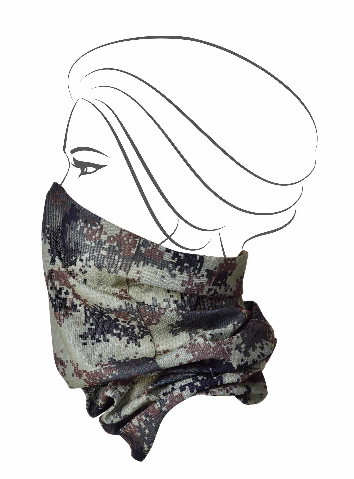 Multifunkční šátek, maskáčový