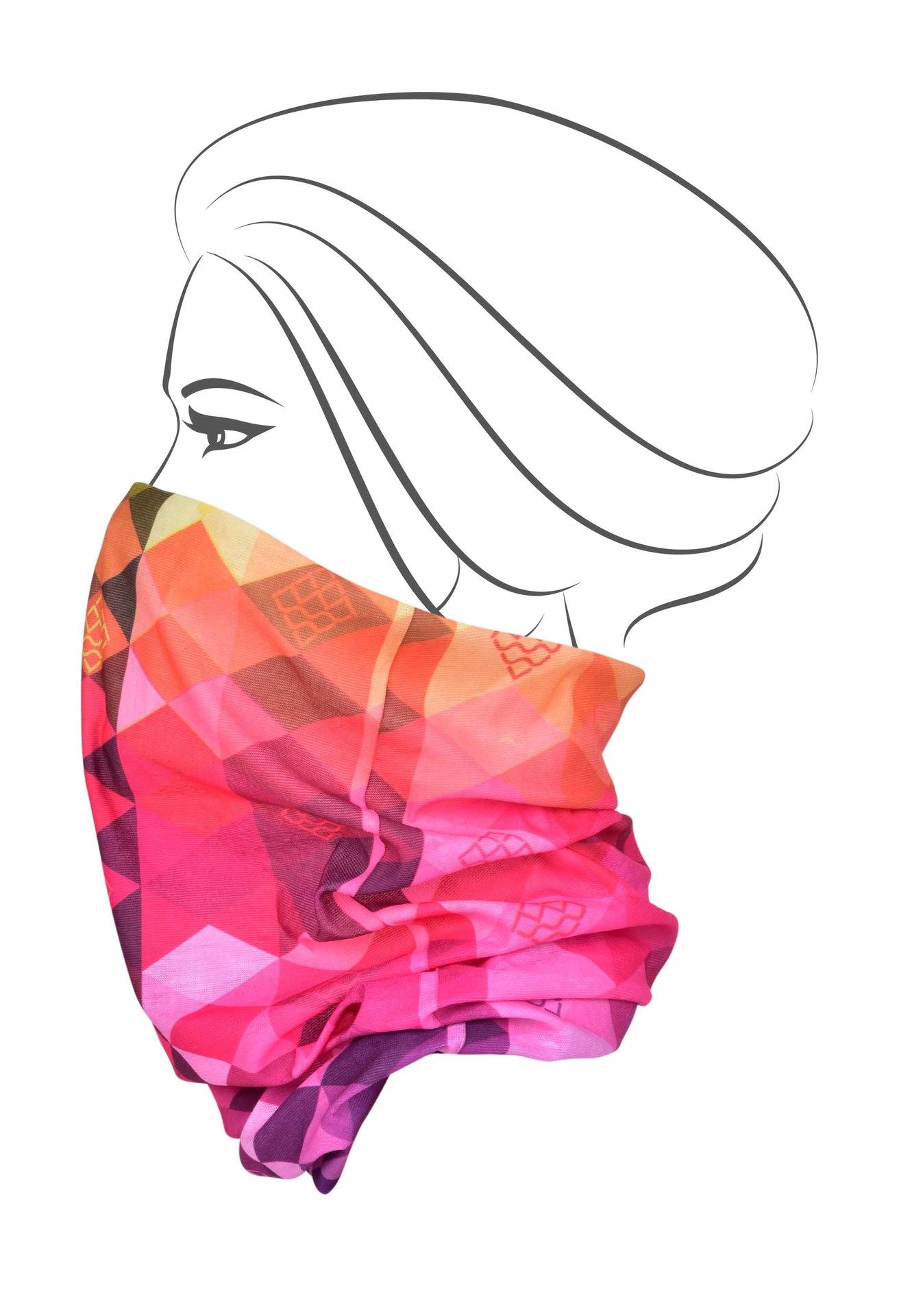 Multifunkční šátek, barevné káro