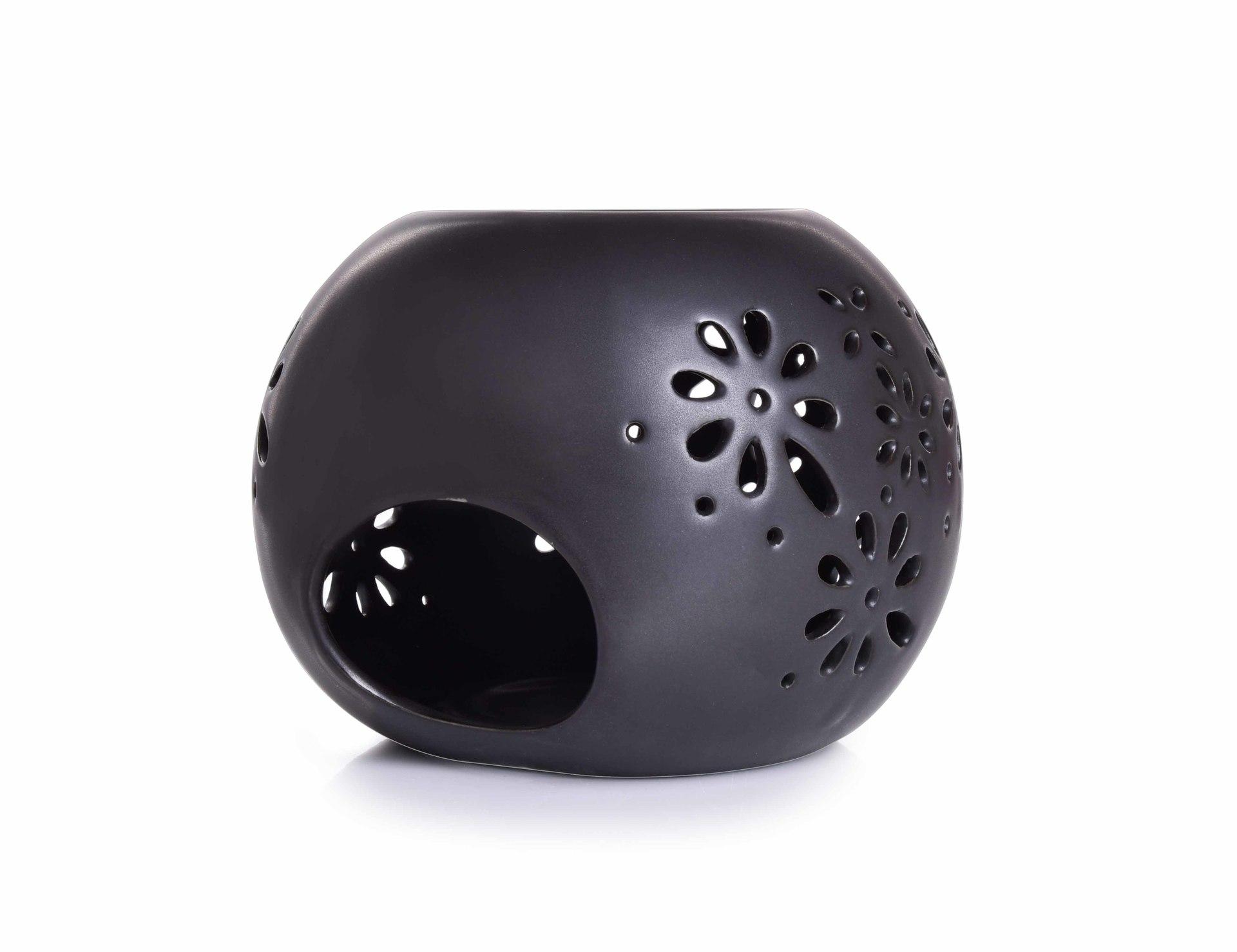 Keramická aromalampa, s čipkovaným dekorom - čierna