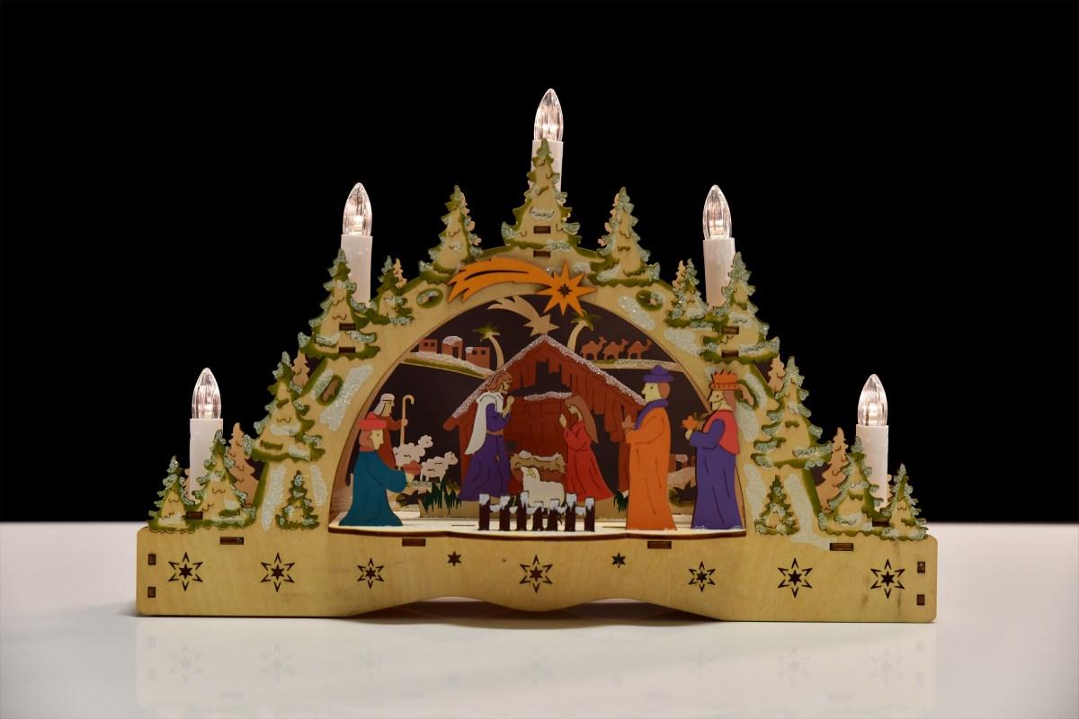 23 cm Betlém s LED svíčkami detailně propracovaný
