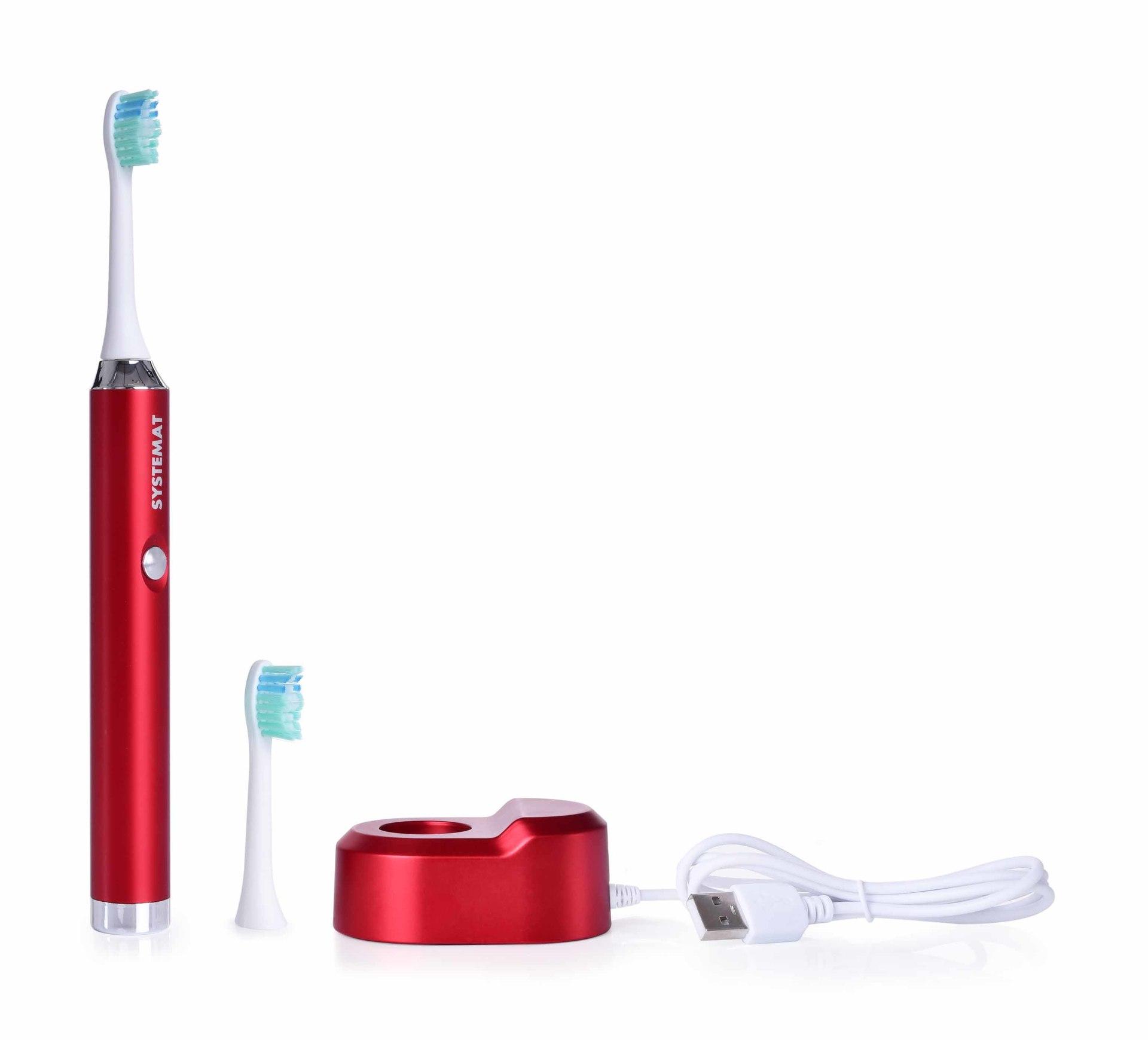Sonický extra jemný kartáček na zuby, celokovový, metalic red, SONISSIMO DEDRA DENT
