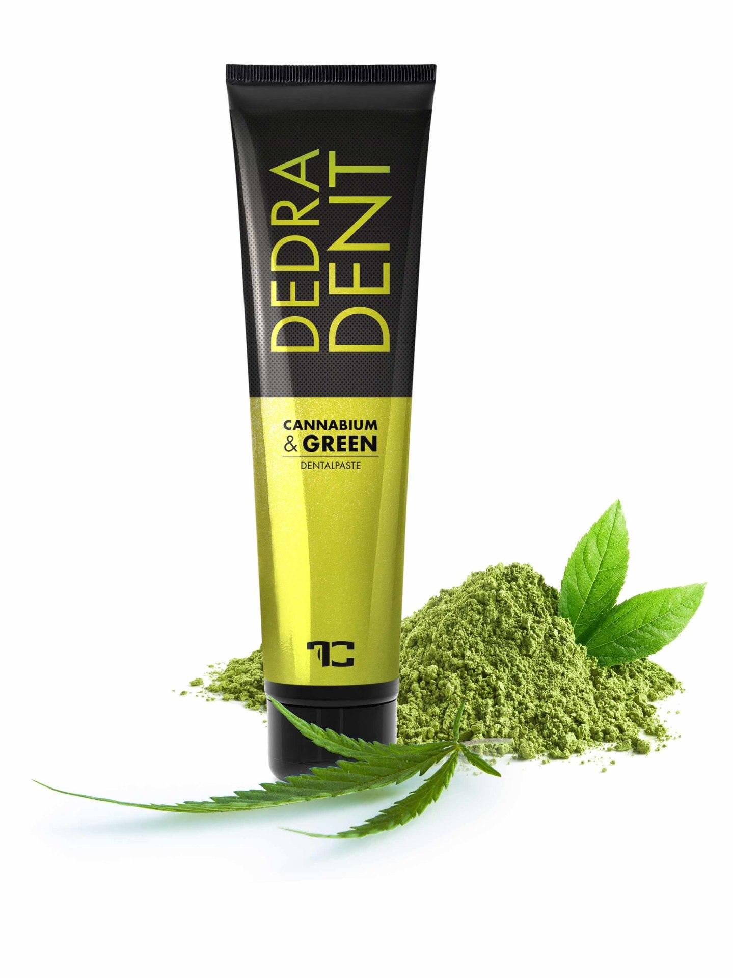 Bylinná přírodní zubní pasta CANNABIUM & GREEN s konopným olejem, zeleným ječmenem a extraktem ze zeleného čaje Matcha, DEDRA DENT