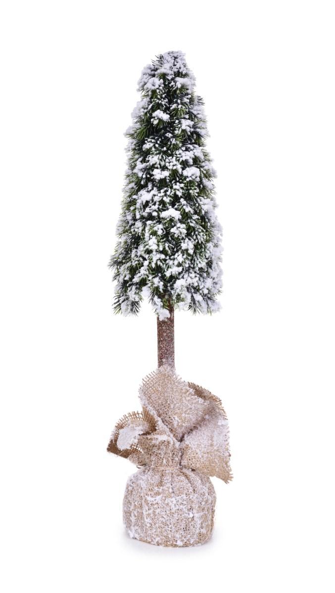 59 cm Zasněžený stromek na dřevěném kmínku, stojící dekorace